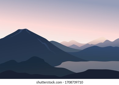 Peaceful landscape lake in the mountains at dawn in soft colors. Travel vector illustrations.