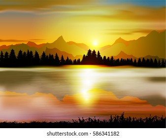 Peaceful landscape of mountains with river - Vector Illustration