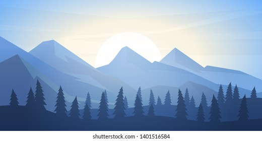 Peaceful landscape. Vector illustration. Minimalist style. Monotone colors. Wallpaper in the natural concept. Silhouettes of the mountains. Slopes, relief. Panoramic image