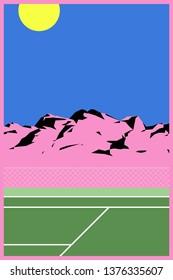 peaceful mountain landscape and tennis court, pastel minimal modern / vintage nostalgic style background illustration