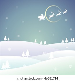 A peaceful night, Santa Claus flying across snowy sky bringing joy to each person.