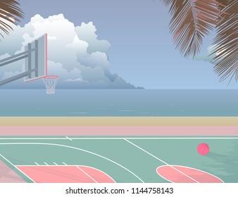 peaceful nostalgic seaside basketball court and it's going to rain. illustration background pastel palette