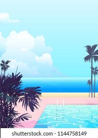 peaceful nostalgic seaside swimming pool, pastel modern - vintage style background illustration
