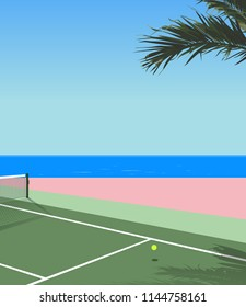 peaceful nostalgic seaside tennis court, pastel modern - vintage style background illustration