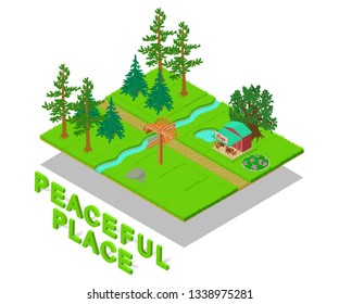 Peaceful place concept banner. Isometric banner of peaceful place vector concept for web, giftcard and postcard