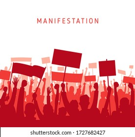 Peaceful Protest and revolution. Silhouette of riot Mass protest crowd demonstrators with banners and flags. Demonstration crowds people with raised hands and banners or. Vector illustration