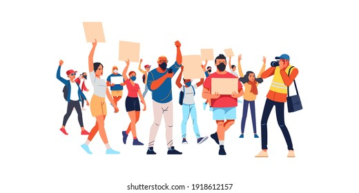 Peaceful rights protest, activists with placards, manifestation, men and women parade participation. Parade rights, adult picket and strike. People hold banners. Cartoon Flat style vector illustration