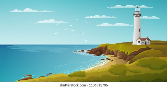 Peaceful seaside landscape with white lighthouse.Vector illustration.