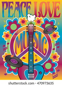 Peace-Love-and-Music Retro-styled illustration