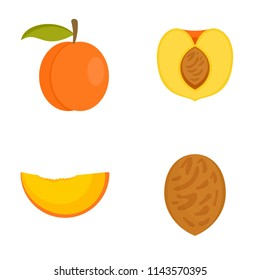 Peach apricot tree slices fruit half icons set. Flat illustration of 4 peach apricot tree slices fruit half vector icons isolated on white