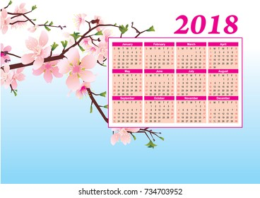 peach blossom calendar 2018 year on blue sky background