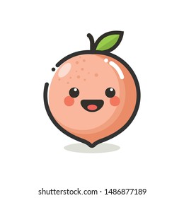 Peach Character Mascot .Fruits & Vegetables Cute Simple icon logo Design Vector