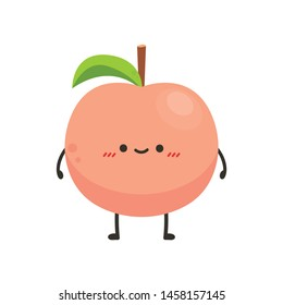 Peach character. peach on white background. wallpaper. copy space.