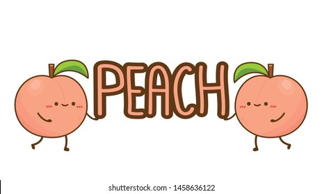 Peach character. peach on white background. wallpaper. Peach poster design.