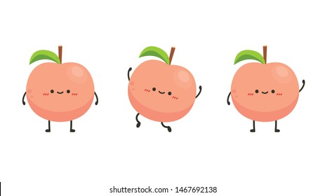 Peach character. peach on white background. wallpaper.