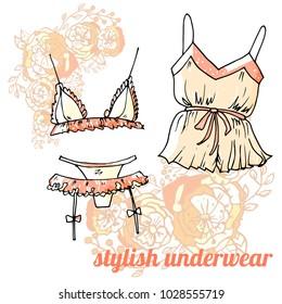 peach colour stylish sexy underwear collection