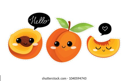 Peach. Cute  characters. Vector set  in cartoon style. Isolated  fruits