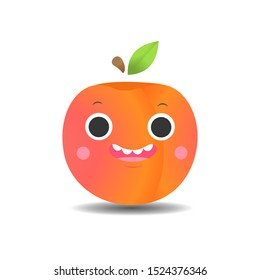 peach with cute face on white background. fruit in cartoon style