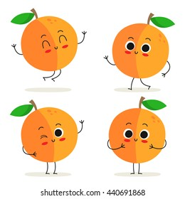 Peach. Cute fruit vector character set isolated on white
