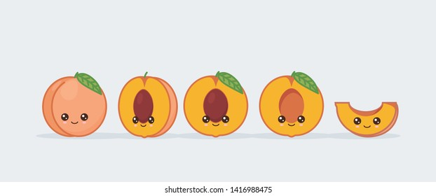 Peach cute kawaii mascot. Set of funny kawaii drawn fruit in the cut