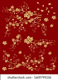 Peach flower and cherry blossom set.Sakura vector set.isolate and golden flower.Free hand Sakura flower vector set,Plum blossom illustration for printing on background.flower design for tattoo idea.
