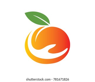 Peach fruit in abstract charity symbol