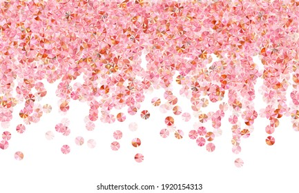 Peach gold foil confetti placer vector background. International Women's Day March 8th card background. Luxury flickering foil particles holiday glitter. Confetti for Mother's day.