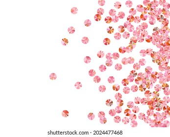 Peach gold foil confetti scatter vector background. Rhythmic gymnastics dress sequins background. Circle glossy spangle elements party glitter. Theater costume paillettes.