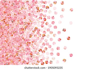 Peach gold paillettes confetti scatter vector illustration.Valentine's Day greeting card background. Luxury glowing foil particles party decor. Birthday celebration confetti.