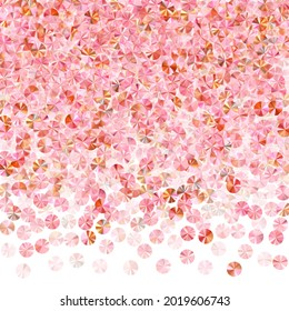 Peach gold spangles confetti placer vector illustration. Birthday anniversary greeting card background. Bright shiny spangle particles holiday glitter. Birthday celebration confetti.