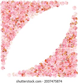 Peach gold tinsels confetti placer vector composition. International Women's Day March 8th card background. Metallic shining tinsel elements holiday decor. Confetti for Mother's day.
