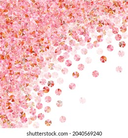 Peach gold tinsels confetti placer vector background. International Women's Day March 8th card background. Festive shimmering bead particles holiday decoration. Confetti for Mother's day.