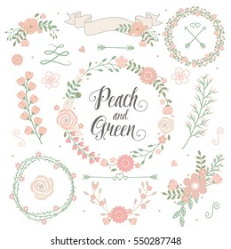 Peach green wedding floral elements