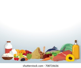 Peach, groats, pumpkin, cranberries, dairy products, greens, vegetable oil, fish - useful products. For your convenience, each significant element is in a separate layer. Eps 10