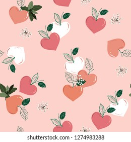 Peach in the heart shape , Fruity seasonal of love seamless pattern vector in sweetness valentine mood design for fashion, fabric ,wallpaper ,and all prints on light pink background color