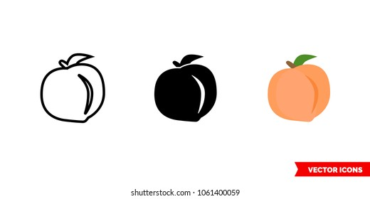 Peach icon of 3 types: color, black and white, outline. Isolated vector sign symbol.