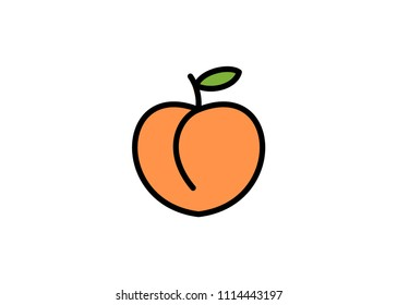 Peach icon, filled line icon