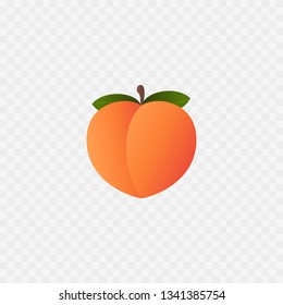 Peach icon. Isolated on white. Peach fruit. Vector