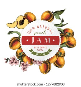 Peach jam paper emblem over hand drawn peach branches. Vector illustration