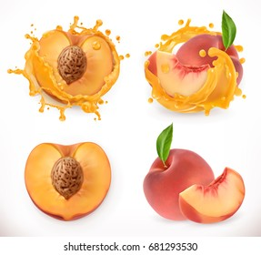 Peach juice. Fresh fruit, 3d vector icon