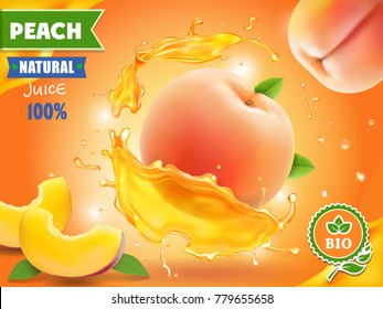 Peach juice. Realistic splash of juice with peach advertising.