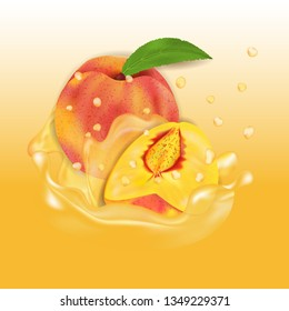 Peach juice splash. Fresh fruit 3d realistic vector illustration. Package design or poster, advertising.