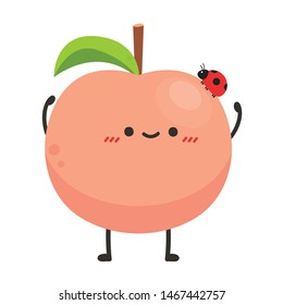 Peach and ladybug character. peach on white background. wallpaper.