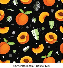 Peach. Modern vector seamless pattern with cute fruits and leaves. All elements  are  hidden under mask. Pattern are not cropped and can be edited