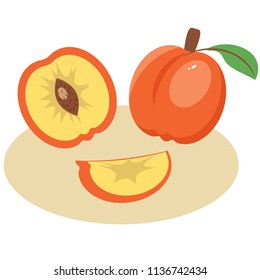 Peach on the plate,illustration graphic design.fruit concept.