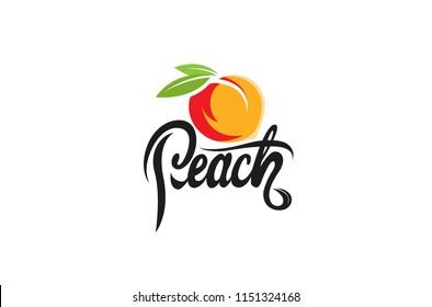 Symbol für das Design des orangen Textlogos Peach Orange