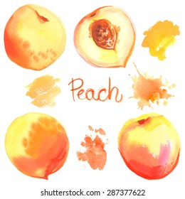 Peach painted with watercolors on white background. Half of peach, bright fruit, abstract spots.