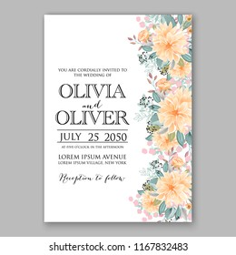 Peach peony wedding invitation vector template with winter floral wreath of fir anemone peony needle pine branch