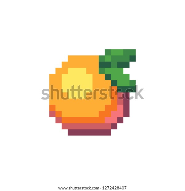 Peach Pixel Art Icon Fruit Logo Stock Image Download Now