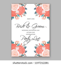 Peach Rose wedding invitation Floral vector background peony